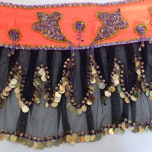 Long Frilly Fun Velvet Belt - orange and gold