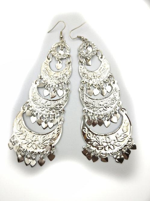 Moon Heart Earrings Silver BEST SELLER