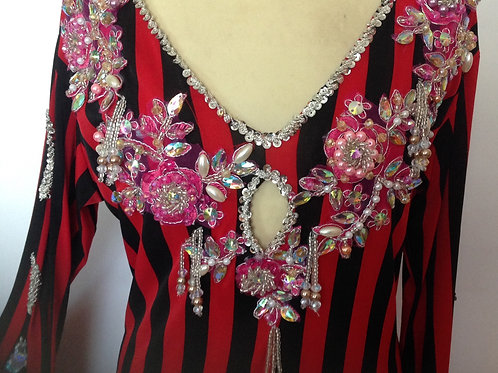 """Beaded Dress - Red and Black Stripes  46""""+ chest"""