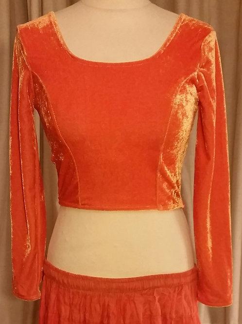Long Sleeve Velvety Top - Orange or Pink
