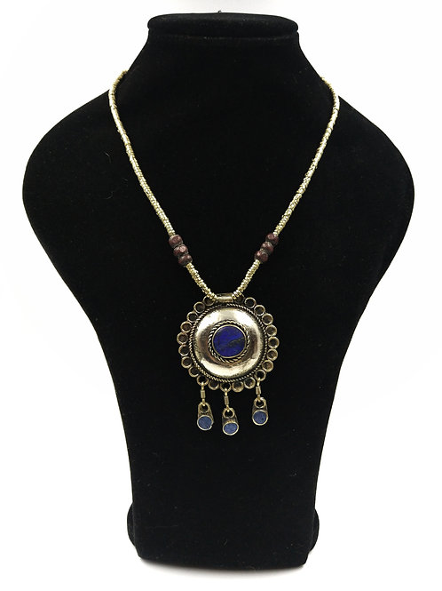 Cute Lapis Kuchi dome circle floral necklace