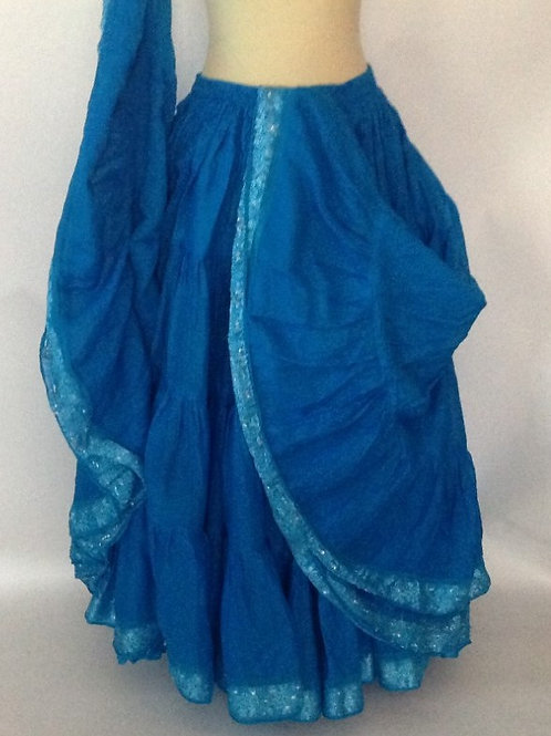 Turquoise Skirt with 25 yard sari trimmed hem - Length 38""