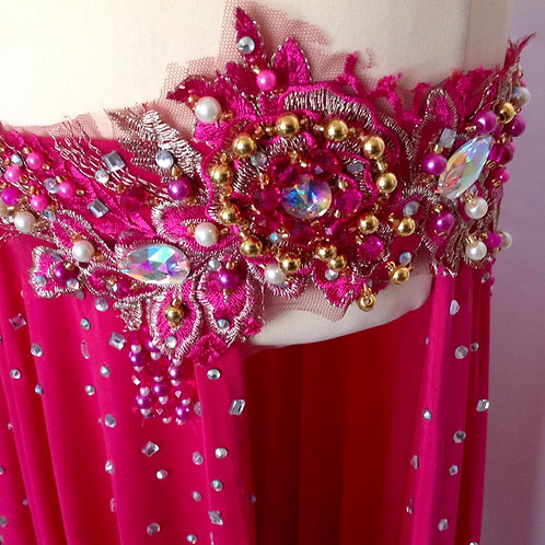 Slim Belt Beaded Costume - Pink