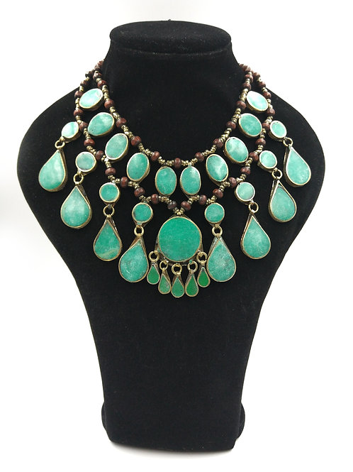 Large Turquoise teardrop necklace