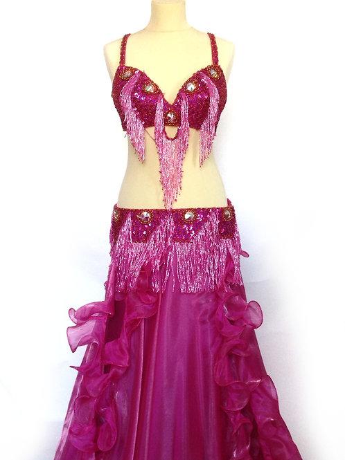 Oriental Bra and Belt Set Pink