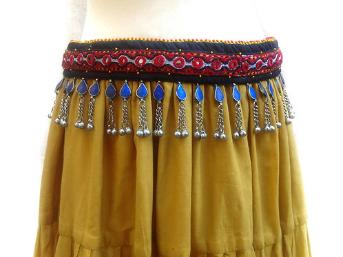 Lovely Lapis Embroidered Cloth Belt