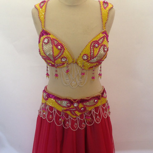 Carnival Bra and Belt - Yellow and Pink