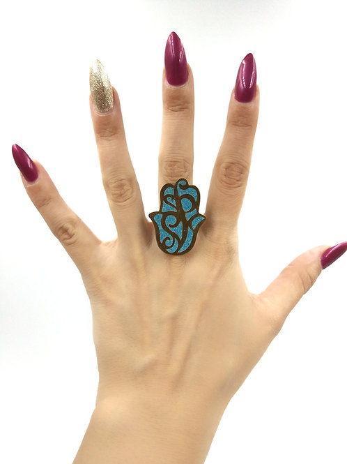 Blue Hamza Ring