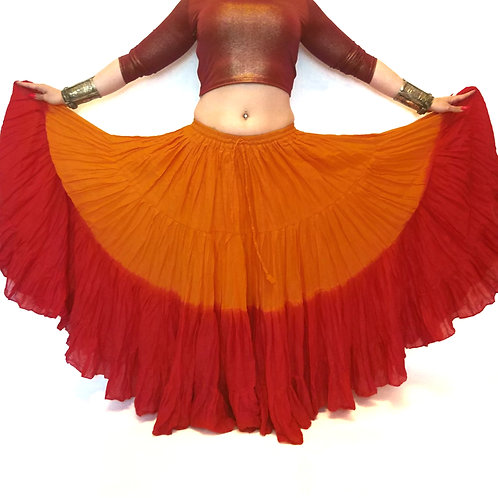 """25 YARD TWO TONE SKIRT - ORANGE AND RED LENGTH 36"""",38"""" & 42"""""""