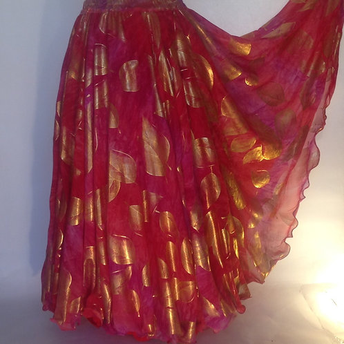 Rose & Gold Leaf Double layer, no split Chiffon Skirt