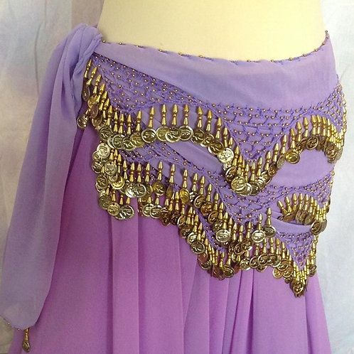 Bead and gold coin belt - lilac