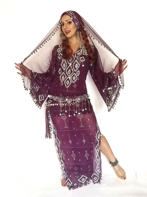 Mulberry Assuit Dress, Belt and Headband with Veil