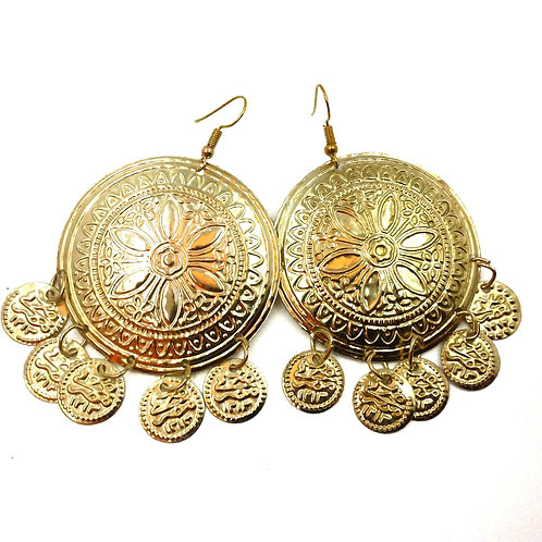 Sun/Moon Disc earrings in soft golden tone