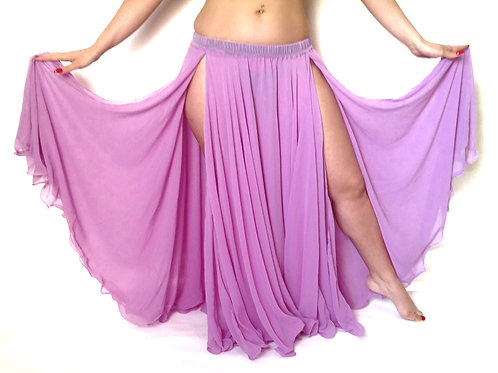 GEORGETTE SKIRT DOUBLE LAYER, DOUBLE SPLIT - Orchid