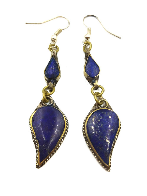 AFGHAN LAPIS EARRINGS - TEARDROP