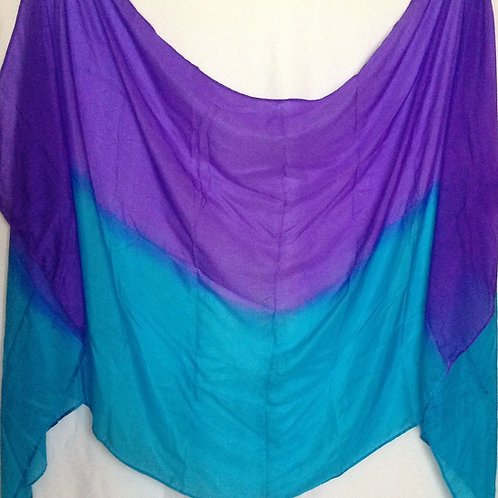Silk Rectangle Veil Purple/Turquoise