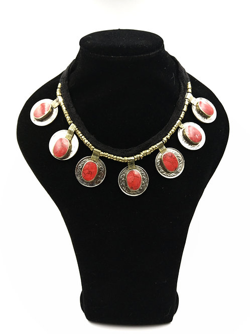 Reversible coral coin necklace BEST SELLER