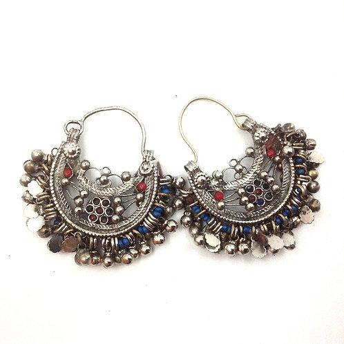 Kuchi filigree Earrings  -  Blue beads
