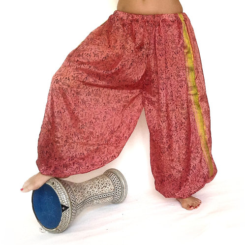 Harem Pants - pink with gold edged legs