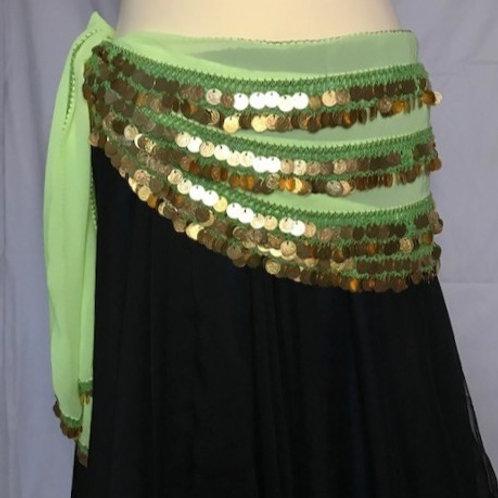 Leila Gold Coin Belt - Apple Green