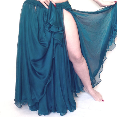 CHIFFON SKIRT DOUBLE LAYER, DOUBLE SPLIT - Teal