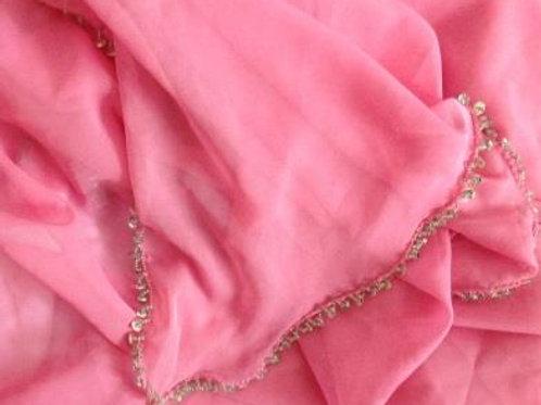 Chiffon Beaded Half Moon Shimmer Veil - Baby Pink /Silver