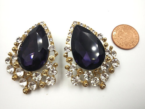 Amazing Large Rhinestone Purple Earrings