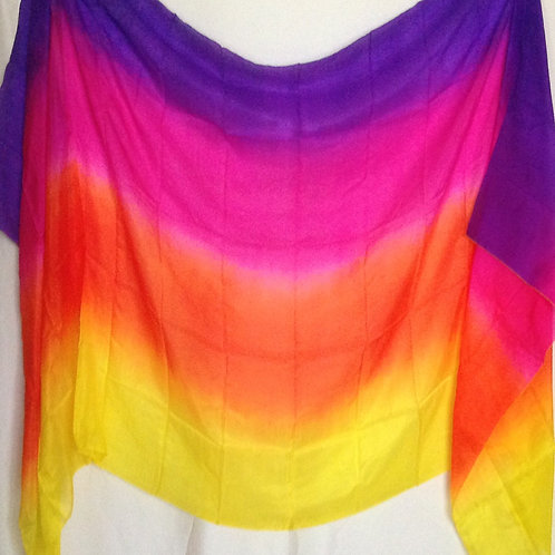 Silk Rectangle Veil purple, pink, orange and yellow