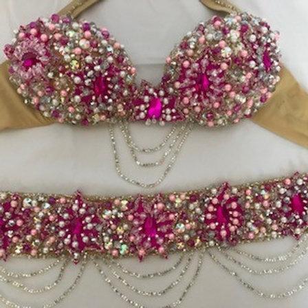 Pink Jewel Bra and Belt