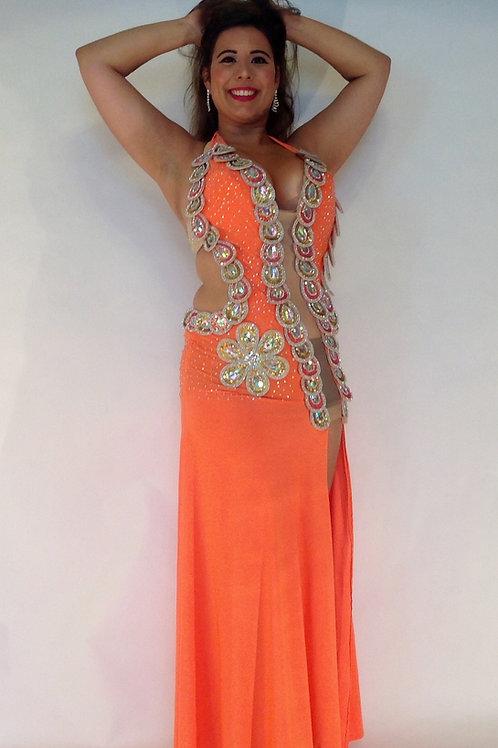 Orange Sensual Flower Dress 12/14