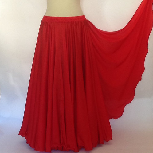 SATIN SKIRT SINGLE LAYER SINGLE SPLIT - RED