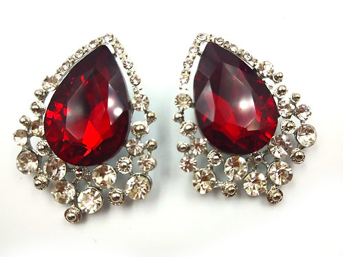 Amazing Large Rhinestone Red Earrings