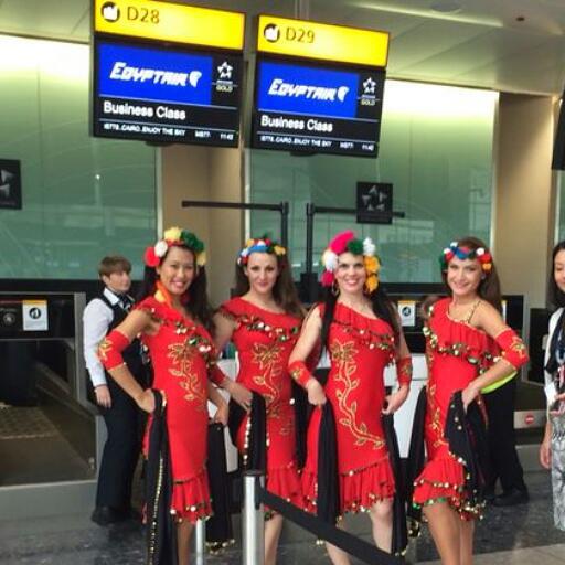 Dancing at Hethrow Airport Egyptair