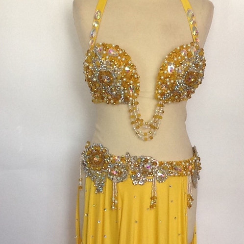 Slim Belt Beaded Costume - Sunshine Yellow