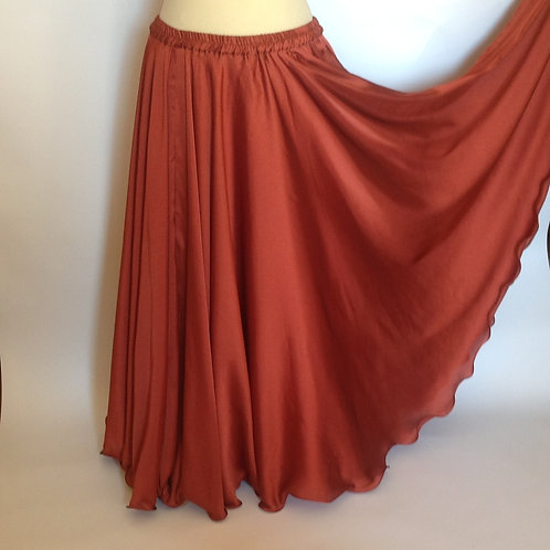 SATIN SKIRT SINGLE LAYER NO SPLITS - COPPER