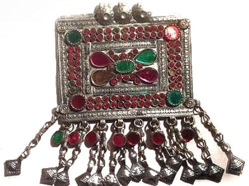 Kuchi Pendant - Red Green Rectangle