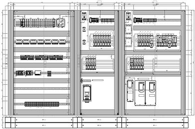 CAD drawing of an electrical cabinet showing electrical equipment including PLC and VSD