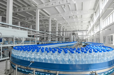 image of a conveyor moving bottles in a food and beverage manaufacturing and packaging plant
