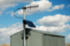 image of an antenna on a pump shed to transmit data to a SCADA system