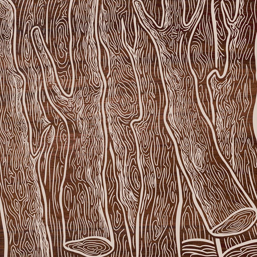A ilustração mostra troncos de árvores em estilo xilogravura. A ilustração é predominantemente marrom com contornos brancos nos troncos.