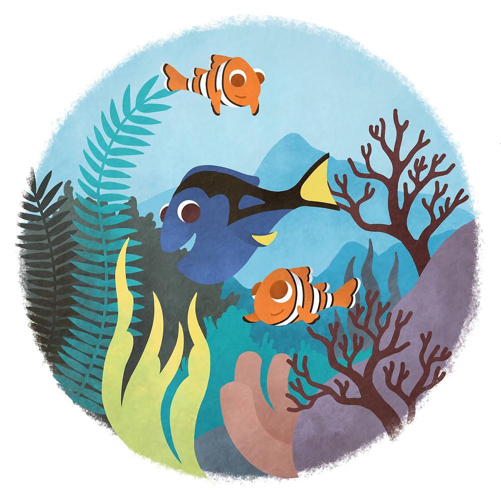 A ilustração mostra três peixinhos nadando no fundo do mar. Dois peixes-palhaço laranja e com listras brancas e a Dory, uma peixe azul com detalhes pretos nas costas. Ao fundo, tem desenhos de algas e plantas marinhas.
