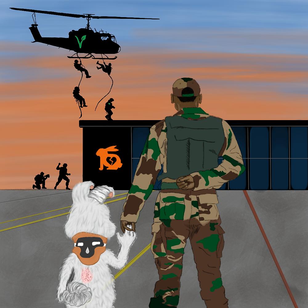 É uma ilustração. Ela mostra ao fundo um céu azul com tons amarelos, lembrando um crepúsculo. No céu tem um helicóptero com a letra V na cor verde, do helicóptero desce quatro pessoas por meio de cordas. Eles pousam em cima de um prédio com o desenho de um coelho com o coração partido. No primeiro plano, mostra um soldado de costas com farda militar segurando a mão de um coelho também de costas, o coelho tem as orelhas remendadas, tem um apoio em volta do pescoço e um corte nas costas.