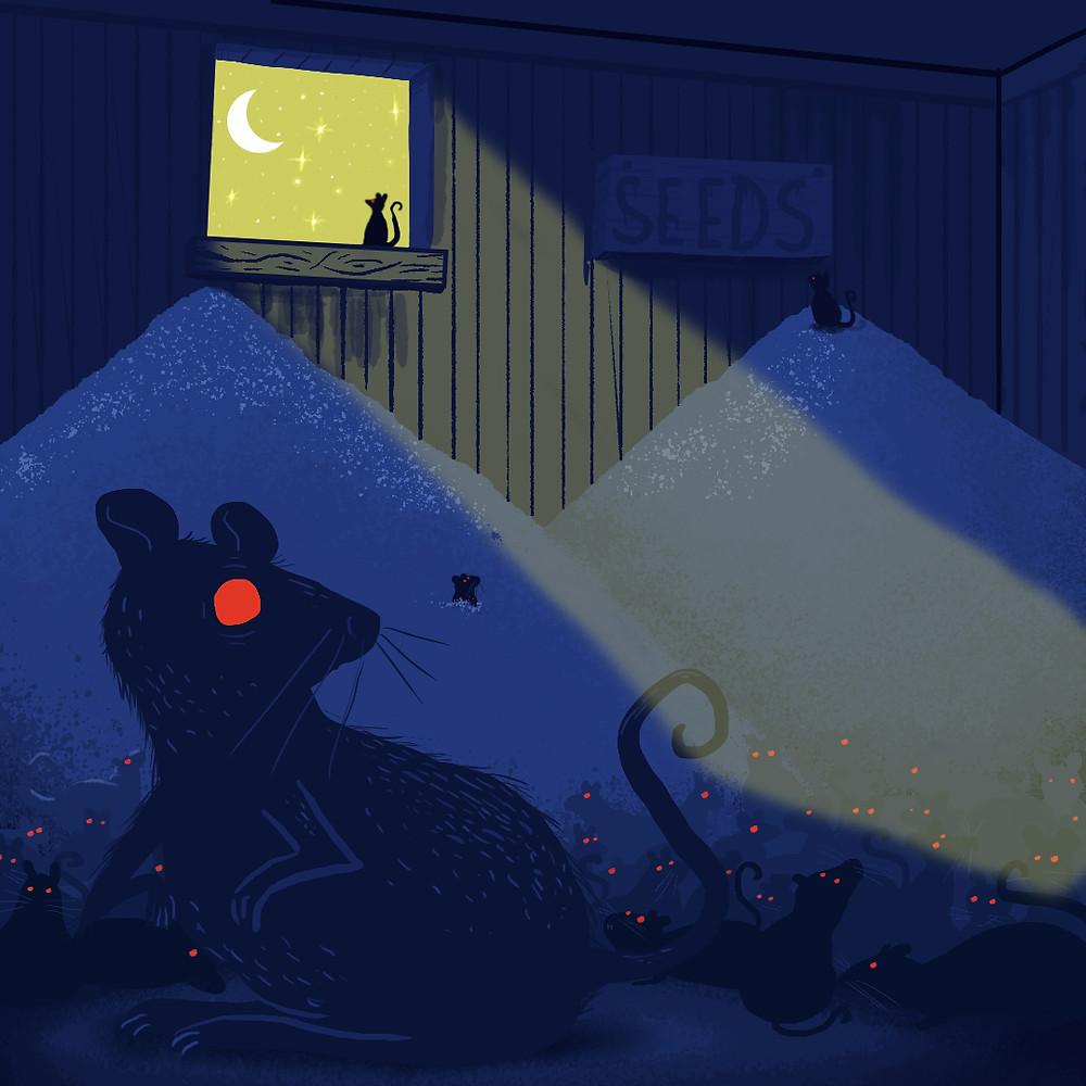 É uma ilustração. O cenário é noturno. Ela mostra um galpão de sementes no fundo e vários ratos espalhados em volta do galpão. Eles são azul escuro e tem os olhos vermelhos vivo.