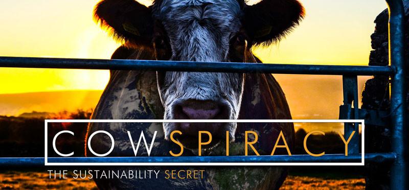 A imagem mostra uma vaca branca e preta olhando fixamente para a câmera, ela está atrás de uma porteira. O sol está atrás fazendo um efeito de crepúsculo. Na frente da foto está escrito: Cowspiracy - The sustainability secret.