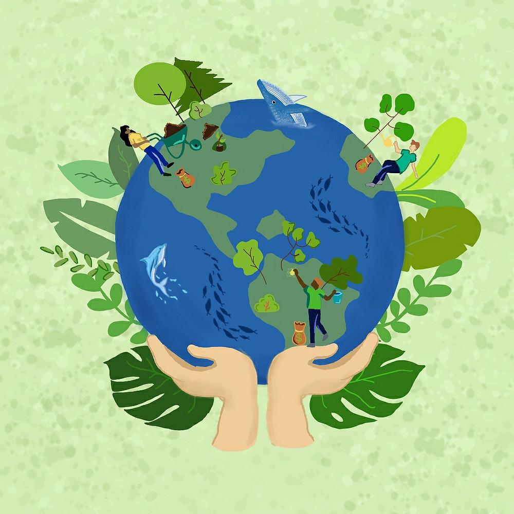 É uma ilustração. O fundo é verde claro. No centro mostra o planeta Terra e duas mãos segurando o planeta na parte de baixo. O planeta é azul, com o desenho dos continentes em verde claro. Plantas verdes estão em volta do planeta. Na Terra, mostram pessoas cuidando de árvores, recolhendo lixo e animais nadando na parte azul.
