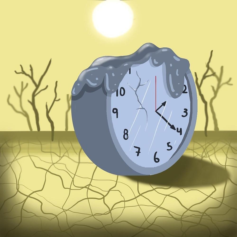 A ilustração mostra um relógio quebrado e derretendo, ao fundo as árvores e o solo estão secos.