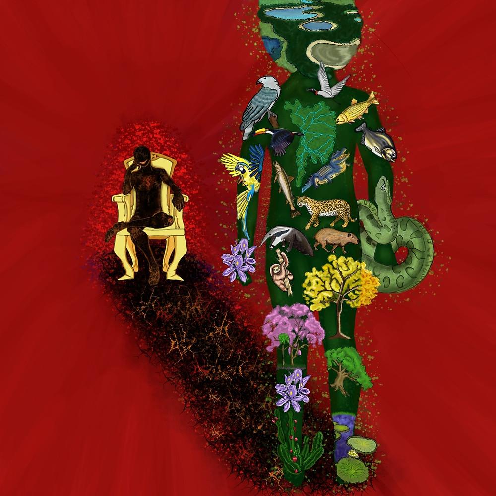 É uma ilustração. Do lado esquerdo, tem uma sombra humana sentada numa cadeira dourada, com a canela em cima da coxa e uma mão apoiando a cabeça. Em seu peito tem um cifrão e ele sorri ironicamente. Nos pés tem uma caminho de cinzas que levam a figura do lado direito. É uma figura com formato humano, alta e verde. No seu corpo, se vê animais, rios e flores que compõem o Pantanal. No seu peito tem o mapa dos estados que abrigam o bioma.