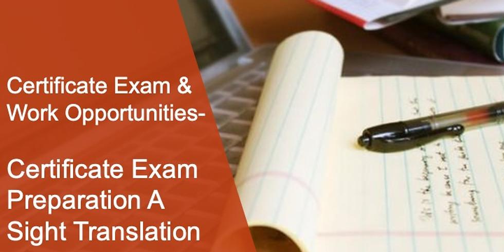 CEWO 1 Certificate Exam Preparation A Sight Translation