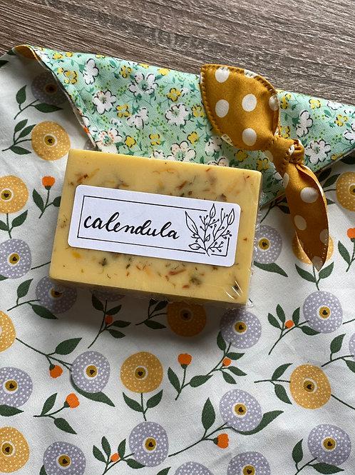 Gift Set/ Calendula + Butterfly Pea Soap w Wrap