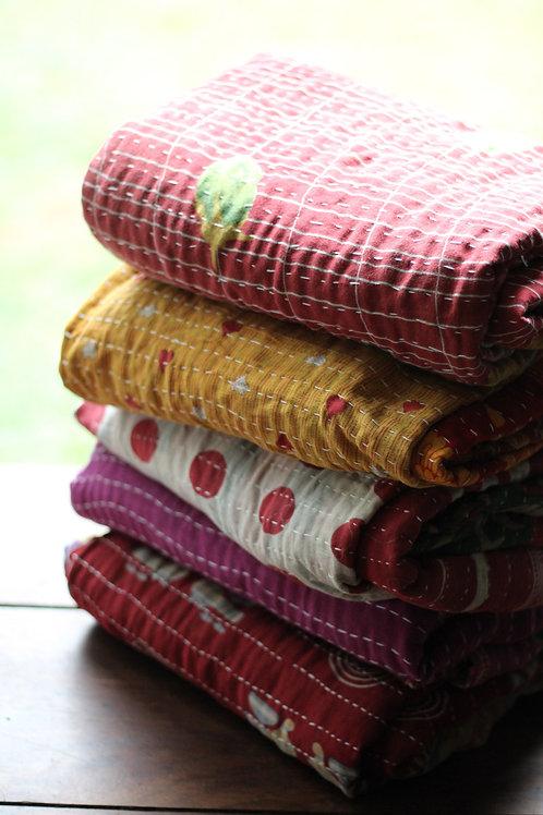 Kantha Quilt (Upcycled Indian Sari Fabric)